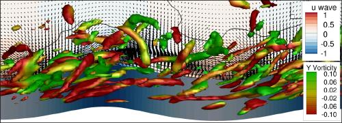 Simulations LES des interactions vent-vague en présence d'une houle régulière : Iso-contours de critère Q colorés par la vorticité